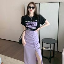 Fashion suit Summer 2021 S. M, average size T-shirt black, T-shirt white, skirt purple, skirt blue 18-25 years old