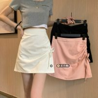 skirt Summer 2021 S,M,L White, pink, black Short skirt commute High waist A-line skirt Solid color Type A 18-24 years old 30% and below other other Pleating Korean version