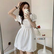 Dress Summer 2021 White, black Average size Middle-skirt singleton  Short sleeve commute square neck High waist Socket puff sleeve 18-24 years old Type A Korean version