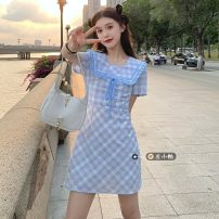 Dress Summer 2021 Blue check S, M Short skirt singleton  Short sleeve commute square neck High waist lattice Socket A-line skirt routine 18-24 years old Type A Korean version 30% and below other other