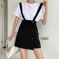 skirt Summer 2021 S,M,L black Short skirt commute High waist Strapless skirt Solid color Type A 18-24 years old 30% and below other other Korean version