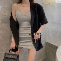 Fashion suit Summer 2021 Average size Black suspender skirt 7655, grey suspender skirt 7655, black suit 9954 18-25 years old