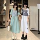 Dress Summer 2021 Light blue, white Average size Mid length dress singleton  Short sleeve commute square neck High waist lattice Socket A-line skirt routine 18-24 years old Type A Korean version Splicing 30% and below Chiffon other