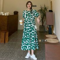 Dress Summer 2021 Dark blue, red, green Average size longuette singleton  Short sleeve commute Crew neck High waist Decor Socket A-line skirt routine 18-24 years old Type A Korean version printing 30% and below other other