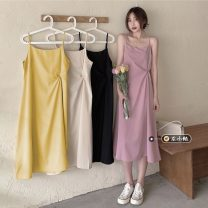 Dress Summer 2021 Apricot, pink, yellow, black Average size longuette singleton  Sleeveless commute square neck High waist Solid color Socket A-line skirt routine camisole 18-24 years old Type A Korean version backless