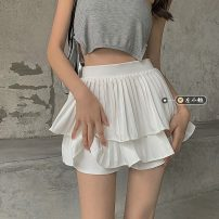 skirt Summer 2021 S,M,L White, black Short skirt commute High waist Cake skirt Solid color Type A 18-24 years old 30% and below other other fold Korean version