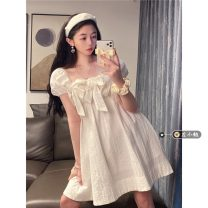 Dress Summer 2021 white Average size Short skirt singleton  Short sleeve commute square neck High waist Solid color Socket Princess Dress puff sleeve Others 18-24 years old Type A Korean version bow 30% and below other other