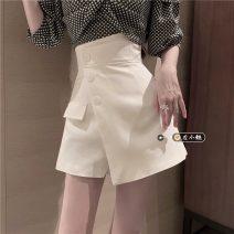 Casual pants Skirt black, skirt white, skirt light green S, M Summer 2021 shorts Wide leg pants High waist commute routine 18-24 years old Korean version
