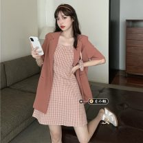 Fashion suit Summer 2021 Average size Red suit , Light yellow suit , Light blue suit , Red Plaid suspender skirt , Khaki plaid suspender skirt , Blue Plaid suspender skirt 18-25 years old
