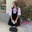 Fashion suit Summer 2021 Average size White T, black suspender skirt s, black suspender skirt M 18-25 years old