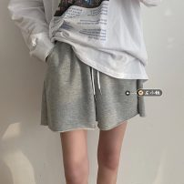 Casual pants Gray, white, black S,M,L Summer 2021 shorts Wide leg pants High waist commute routine 18-24 years old Korean version Bandage