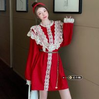 Dress Spring 2021 claret Average size longuette singleton  Long sleeves commute Crew neck High waist Solid color Socket A-line skirt routine 18-24 years old Type A Splicing