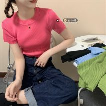 Wool knitwear Summer 2021 Average size Rose, green, blue, black Short sleeve singleton  Socket other 30% and below have cash less than that is registered in the accounts routine commute Self cultivation Low crew neck routine Solid color Socket Korean version 18-24 years old