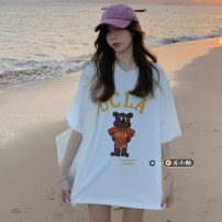 T-shirt Grey, white Average size Summer 2021 Short sleeve Crew neck easy Regular routine commute other 30% and below 18-24 years old Korean version youth Cartoon animation printing