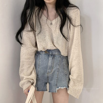 Wool knitwear Spring 2021 Average size Apricot, light grey Long sleeves singleton  Socket other 30% and below Regular Thin money commute easy V-neck routine Solid color Socket Korean version 18-24 years old