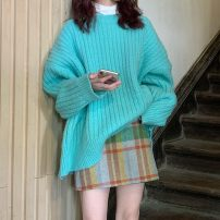 Fashion suit Spring 2021 Average size Lake green sweater, skirt s, Skirt M, skirt L 18-25 years old