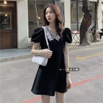 Dress Summer 2021 black Average size Short skirt singleton  Short sleeve commute V-neck High waist A-line skirt puff sleeve Others 18-24 years old Type A Korean version