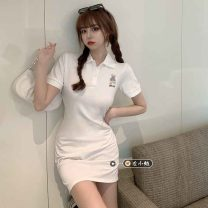 Dress Summer 2021 White, pink Average size Short skirt singleton  Short sleeve commute Polo collar High waist Cartoon animation Three buttons One pace skirt routine 18-24 years old Type A Korean version 30% and below other other