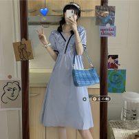 Dress Summer 2021 White, blue Average size Mid length dress singleton  Short sleeve commute V-neck High waist Solid color Socket A-line skirt puff sleeve 18-24 years old Type A Korean version