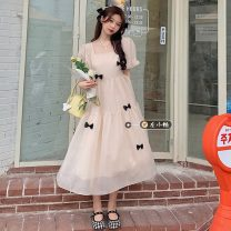 Dress Summer 2021 Off white, pink Average size Mid length dress singleton  Short sleeve commute square neck High waist Solid color A-line skirt puff sleeve Others 18-24 years old Type A Korean version bow