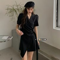 Dress Spring 2021 Picture color Average size Short skirt singleton  Short sleeve commute V-neck High waist Solid color Socket A-line skirt other Others 18-24 years old Type A Korean version 30% and below other