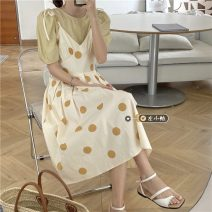 Fashion suit Summer 2021 Average size Pink shirt, pink dot skirt, yellow shirt, yellow dot skirt 18-25 years old