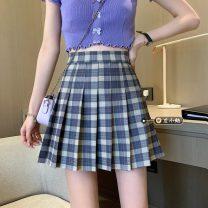 skirt Summer 2021 S,M,L White, black, blue, green Short skirt commute High waist Pleated skirt lattice Type A 18-24 years old fold Korean version