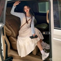 Dress Spring 2021 White dress 8373, black dress 8373, base coat white 8375, base coat blue 8375# Average size Mid length dress singleton  Sleeveless commute Polo collar Solid color Socket A-line skirt routine Others 18-24 years old Type A Korean version 30% and below other cotton