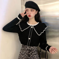 Wool knitwear Spring 2021 Average size Blue, black, apricot Long sleeves singleton  Socket other 30% and below Regular routine commute Straight cylinder Doll Collar routine Socket 18-24 years old