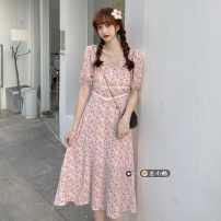 Dress Summer 2021 Apricot, pink Average size Mid length dress singleton  Short sleeve commute other High waist Broken flowers Socket A-line skirt routine 18-24 years old Type A Korean version 30% and below other other