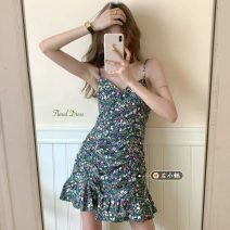 Dress Summer 2021 Purple, green S, M Short skirt singleton  Sleeveless commute V-neck High waist Broken flowers Socket A-line skirt routine camisole 18-24 years old Type A Korean version printing 30% and below other other