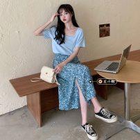 Fashion suit Summer 2021 S. M, average size Milk blue T-shirt, orange T-shirt, blue skirt, orange skirt 18-25 years old