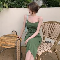 Dress Summer 2021 green Average size Mid length dress singleton  Sleeveless commute other High waist Solid color Socket One pace skirt other camisole 18-24 years old Type H Korean version 30% and below other other