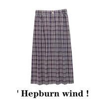 skirt Summer 2021 S,M,L Twilight purple Mid length dress commute lattice Type H 51% (inclusive) - 70% (inclusive) polyester fiber Fold, button, zipper Simplicity