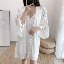 Pajamas / housewear set female Other / other M (80-100kg), l (100-118kg), XL (118-136kg) Yx-9706 # white, yx-9706 # pink, yx-9706 # black, yx-9706 # red, yx-9706 # yellow green, yx-9706 # cyan Polyester (polyester) Long sleeves sexy Leisure home summer Thin money V-neck Solid color Oblique lapel silk