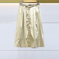skirt Summer 2021 XL-10,L-8,M-6,S-4 Khaki Short skirt Versatile Pleated skirt Solid color Type A 40-49 years old N12B3803 Poplin jorya other Splicing