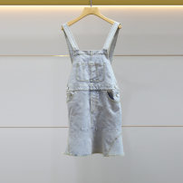 Dress Summer 2021 blue XL-10,L-8,M-6,S-4 longuette other Lotus leaf collar High waist other other Ruffle Skirt Lotus leaf sleeve straps 18-24 years old JORYA weekend Lotus leaf edge EJWBBQ14 cowhide other