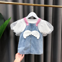 Dress blue female Mengyoufang The recommended height is 73cm for size 5, 80cm for size 7, 90cm for size 9, 100cm for size 11 and 110cm for size 13 Other 100% summer Korean version Strapless skirt other other Denim skirt Class B 12 months, 2 years, 3 years, 4 years, 5 years