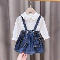 Dress blue female Mengyoufang The recommended height is 73cm for size 5, 80cm for size 7, 90cm for size 9, 100cm for size 11 and 110cm for size 13 Other 100% spring and autumn Korean version Strapless skirt other other A-line skirt SL1675 Class B 12 months, 6 months, 2 years, 3 years, 4 years