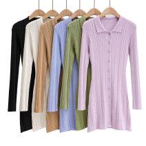 Dress Autumn 2020 Light purple, green, blue, off white, black, Dark Khaki S, M Short skirt singleton  Long sleeves street 25-29 years old Europe and America