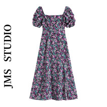 Dress Summer 2021 violet S,M,L longuette singleton  Short sleeve commute square neck High waist Broken flowers other A-line skirt puff sleeve Others 18-24 years old Type A Korean version 71% (inclusive) - 80% (inclusive) other other