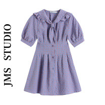 Dress Summer 2021 violet S,M,L Short skirt singleton  Short sleeve commute Admiral High waist lattice Single breasted A-line skirt routine Others 18-24 years old Type A Korean version 51% (inclusive) - 70% (inclusive)