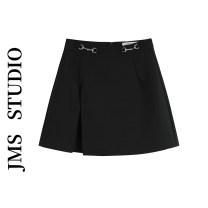 skirt Summer 2021 S,M,L,XL black Short skirt commute High waist A-line skirt Solid color Type A 18-24 years old 51% (inclusive) - 70% (inclusive) polyester fiber zipper Korean version