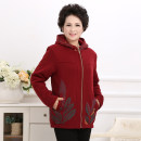 Women's large Spring 2016 Dark green, jujube red Sweater / sweater singleton  Sweet Self cultivation thick Long sleeves Hood routine Other / other 40-49 years old 91% (inclusive) - 95% (inclusive) zipper Ruili