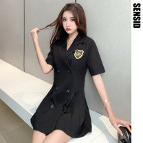 Dress Summer 2020 Warm grey, black at night, khakimi S,M,L Short skirt singleton  Short sleeve commute tailored collar High waist Solid color double-breasted Pleated skirt routine Others Type A Korean version polyester fiber