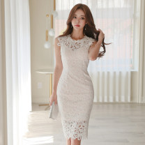 Dress Summer of 2019 white S,M,L,XL singleton  Sleeveless commute Crew neck High waist Solid color zipper Pencil skirt Others 18-24 years old Korean version Cut out, zipper, lace