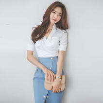 Fashion suit Summer 2020 S,M,L,XL White single top, blue single skirt, suit 25-35 years old