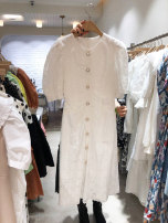 Dress Summer 2020 White, black S,M,L,XL Mid length dress singleton  Short sleeve commute Crew neck High waist Solid color Single breasted puff sleeve Korean version Button, lace 71% (inclusive) - 80% (inclusive)
