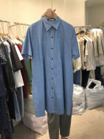 Dress Summer 2021 Light blue, dark blue S,M,L,XL Short skirt singleton  Short sleeve commute Polo collar High waist Solid color Single breasted other routine Others 25-29 years old Type A Korean version Button 51% (inclusive) - 70% (inclusive) other other