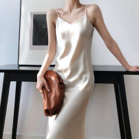 Dress Spring 2021 Black, champagne, ivory, emerald S,M,L Short skirt singleton  Sleeveless commute V-neck High waist Solid color Socket A-line skirt routine camisole 18-24 years old Type A Retro backless lx8930 81% (inclusive) - 90% (inclusive) polyester fiber